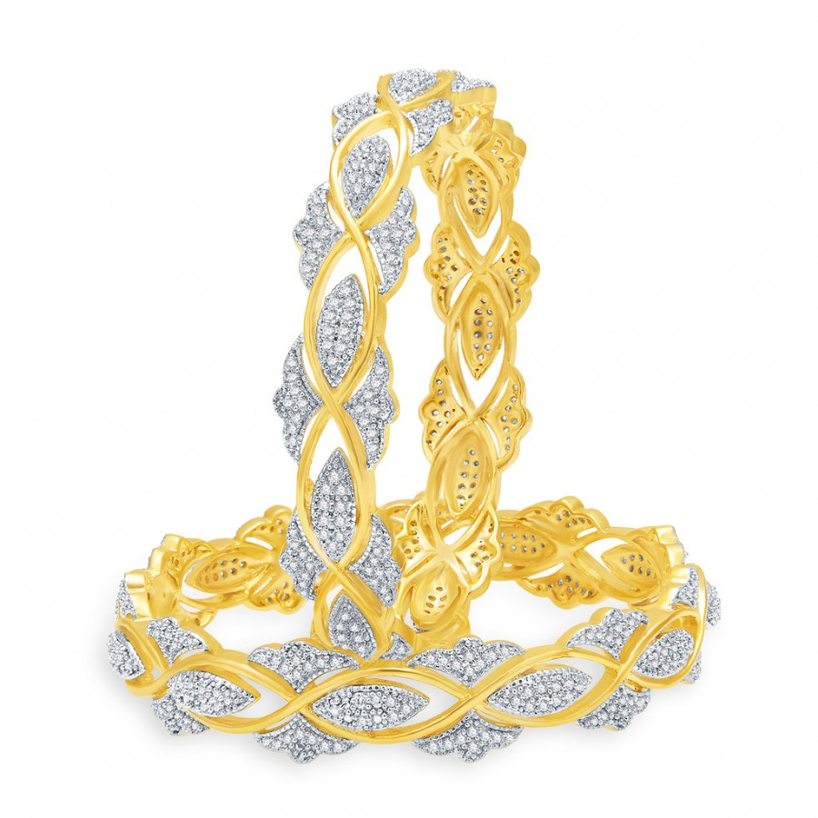 Buy Pissara Glittering Gold And Rhodium Plated CZ Bangles For Women Online