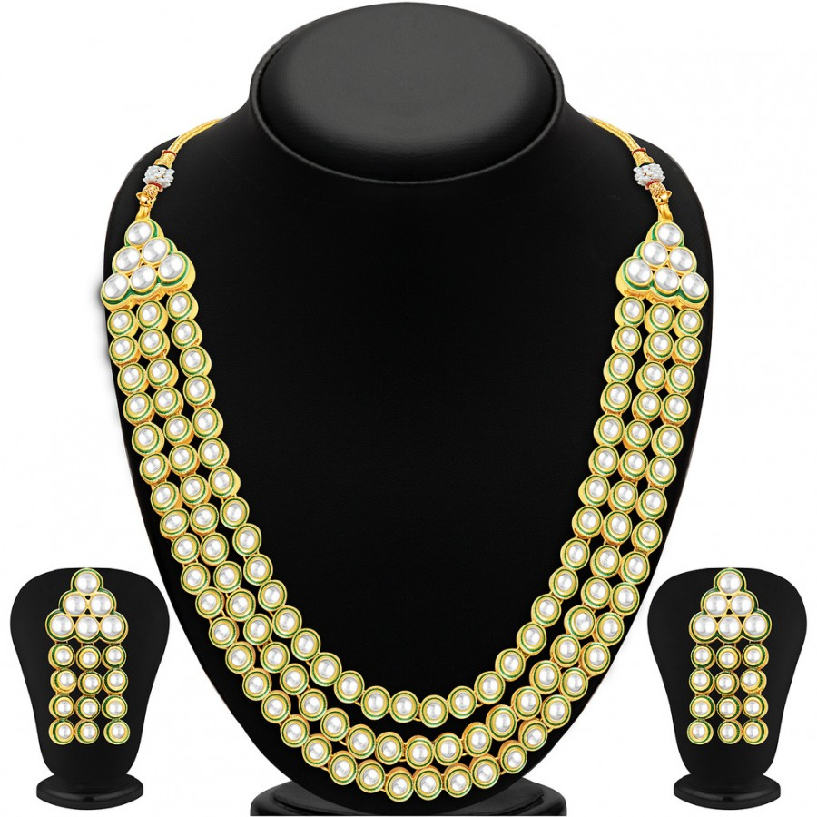Buy Sukkhi Appealing Three Strings Gold Plated Kundan Necklace Set Online