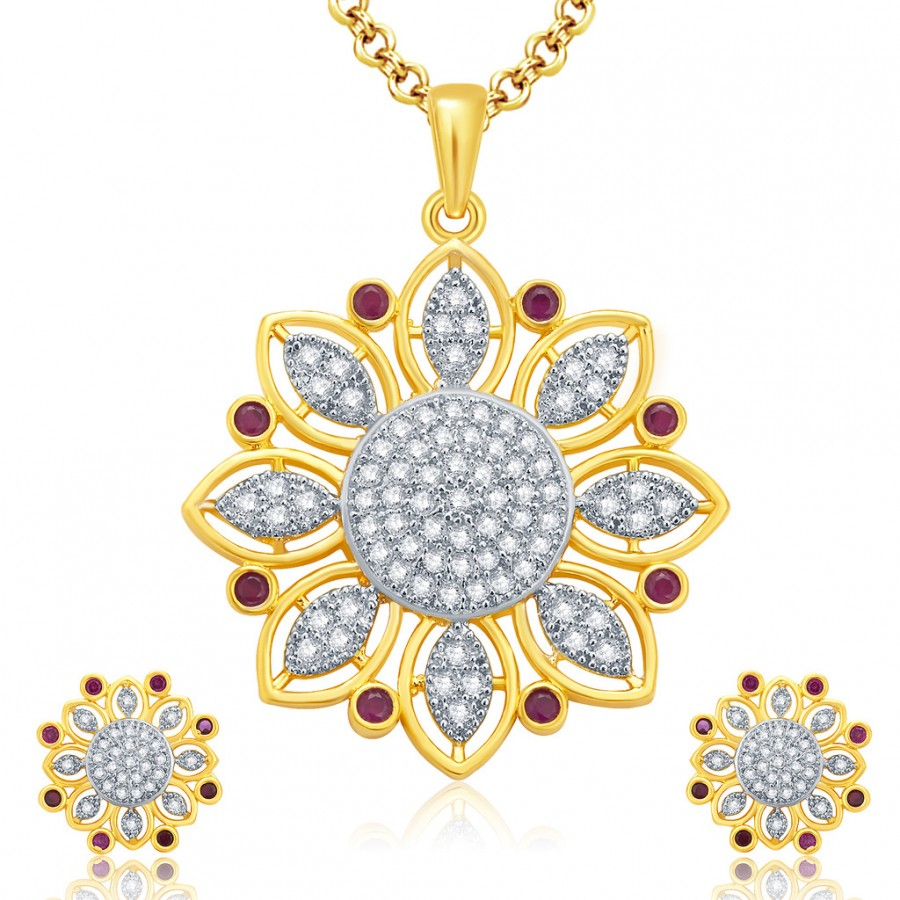 Buy Pissara Notalgic Gold And Rhodium Plated Ruby CZ Pendant Set For Women Online