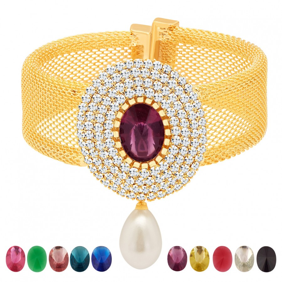 Buy Sukkhi Exquisite Gold Plated AD Ten Changeable Stone Kada Online
