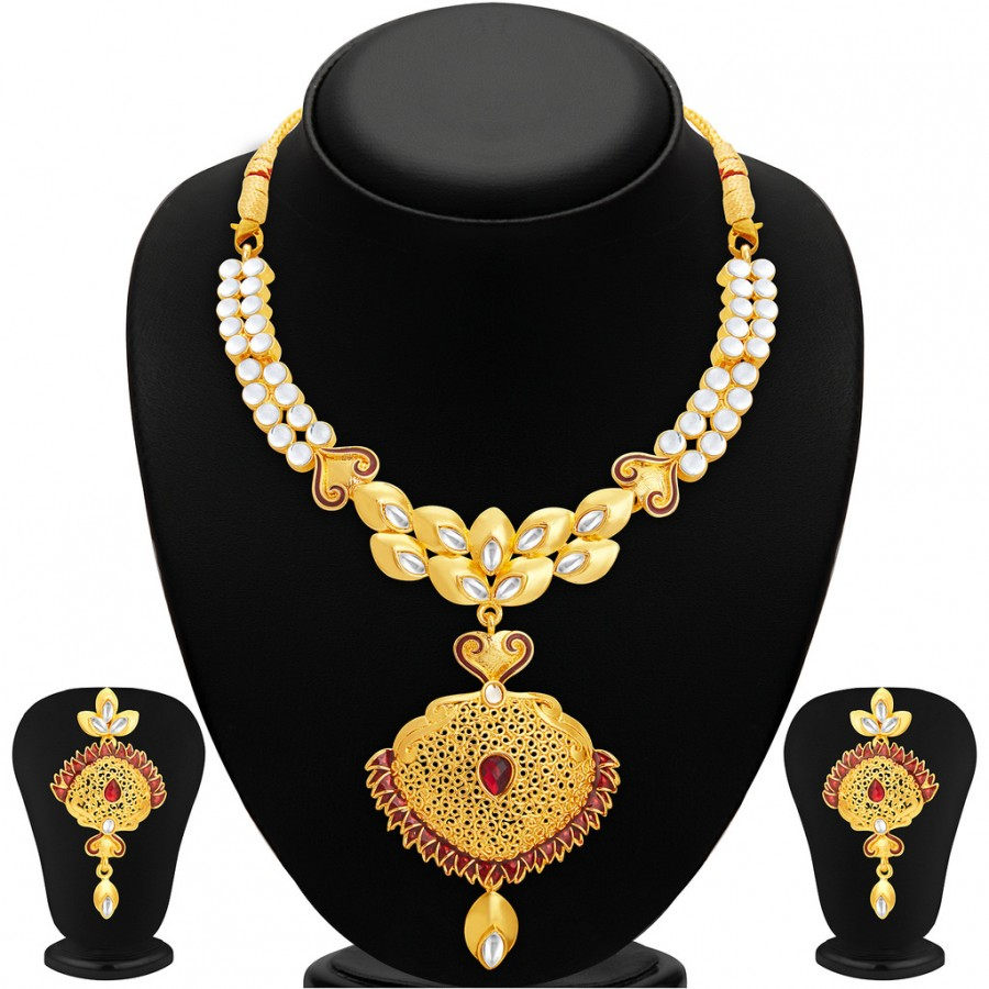 Buy Sukkhi Astonishing Gold Plated AD Necklace Set For Women Online
