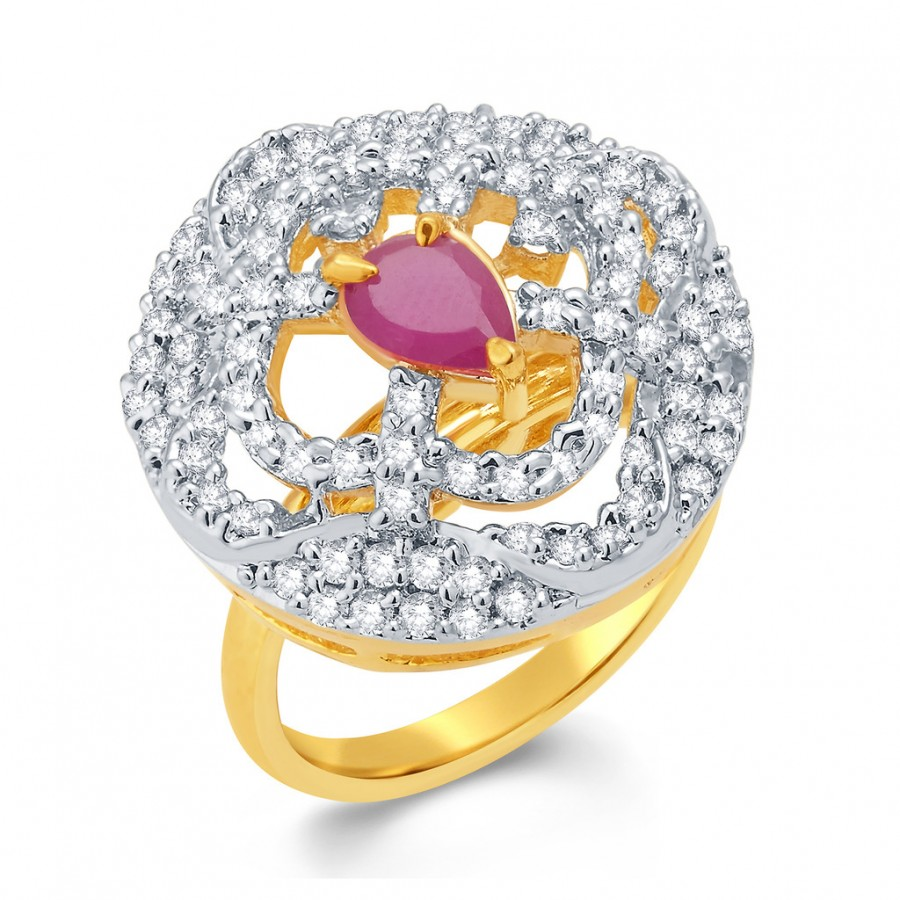 Buy Pissara Mesmerizing Gold And Rhodium Plated Ruby CZ Ring For Women Online