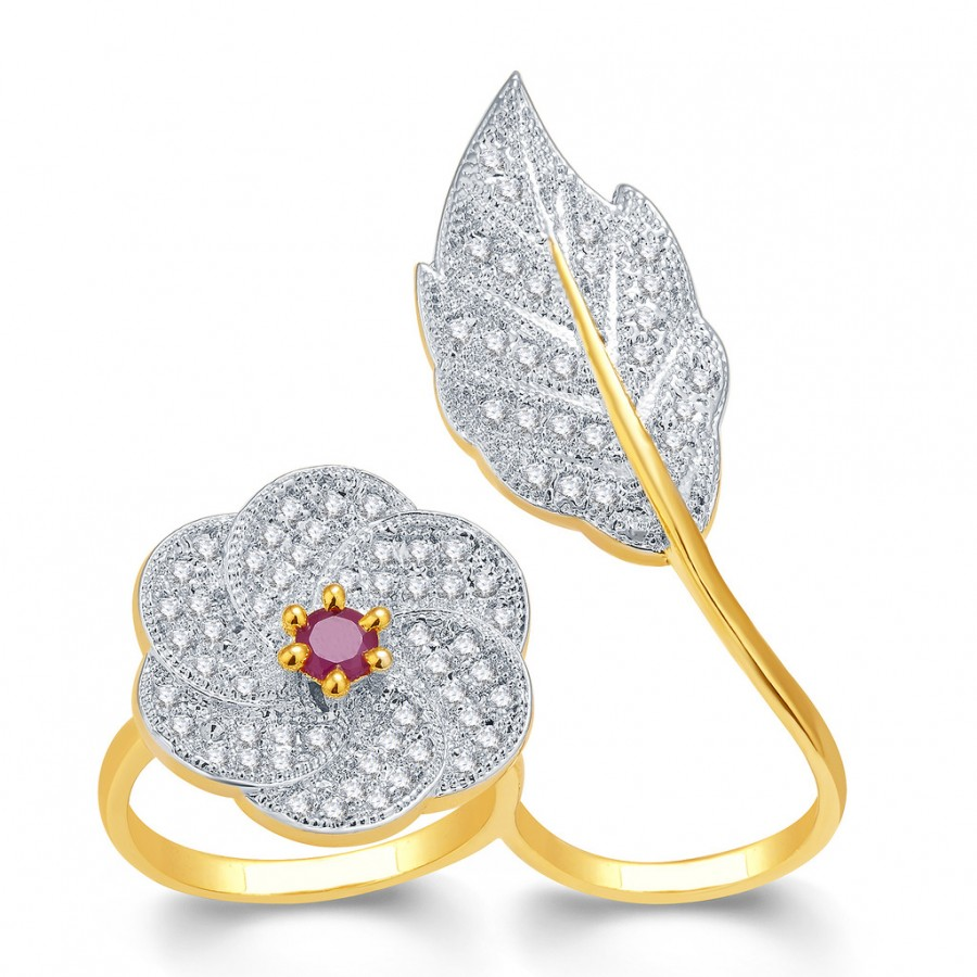 Buy Pissara Shiny Gold And Rhodium Plated Ruby CZ Ring For Women Online