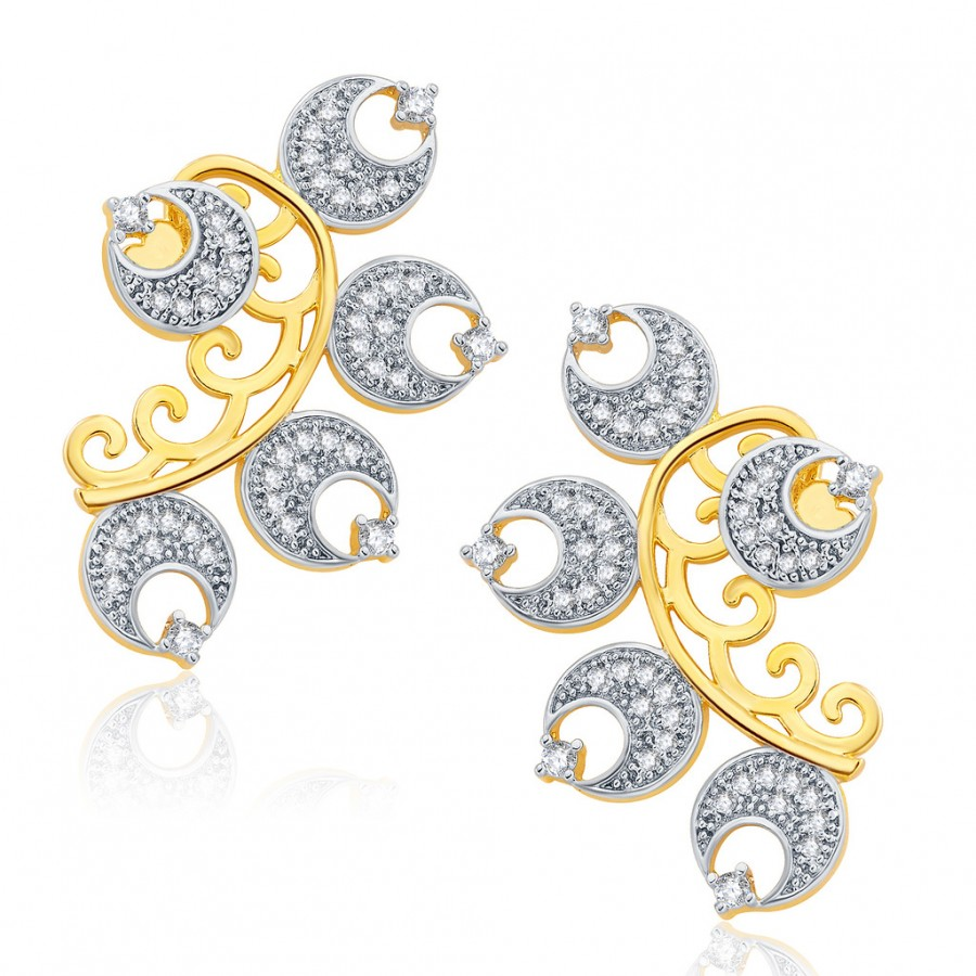Buy Pissara Ornate Gold And Rhodium Plated CZ Earcuff For Women Online