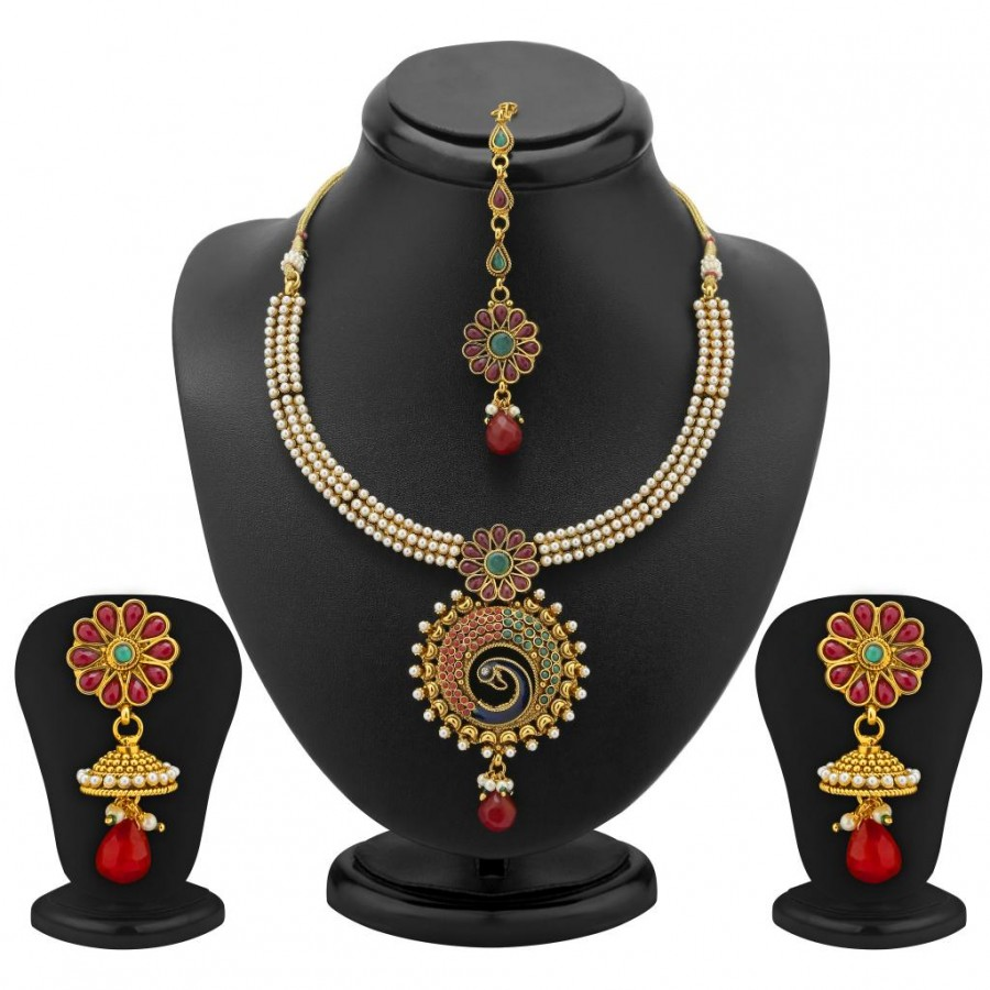 Buy Sukkhi Traditionally Gold Plated Peacock Antique Necklace Set Online