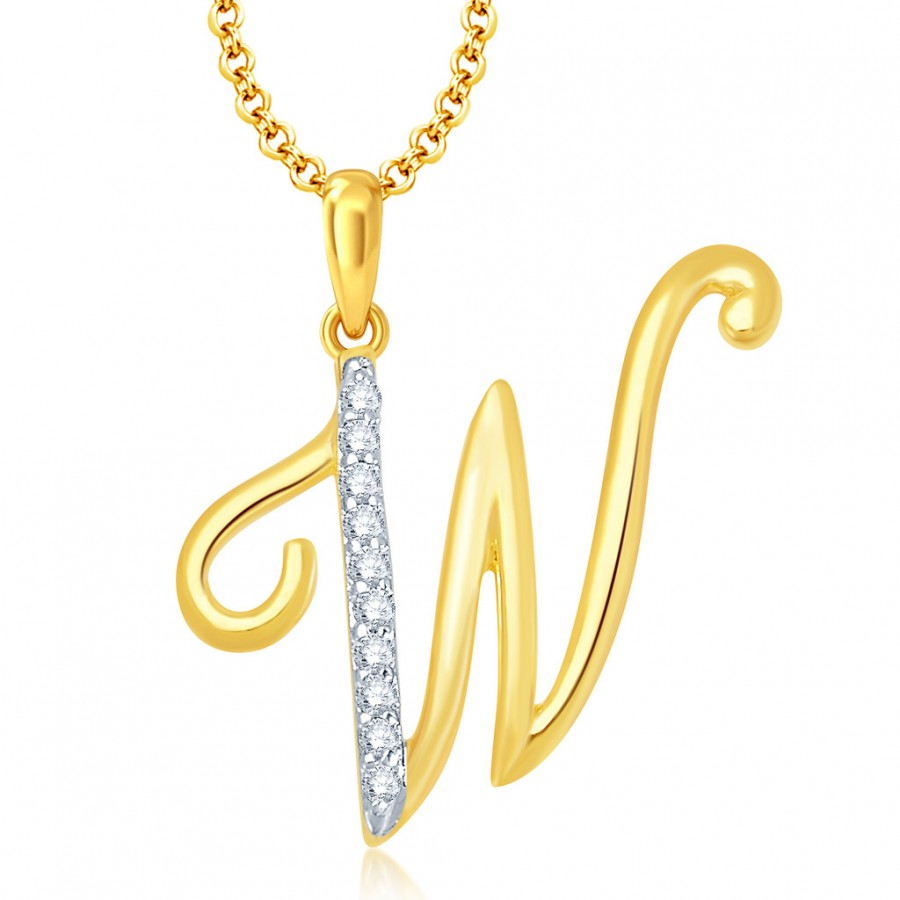 "Buy Pissara Letter"" W"" Gold and Rhodium Plated CZ Alphabet Pendant Online"