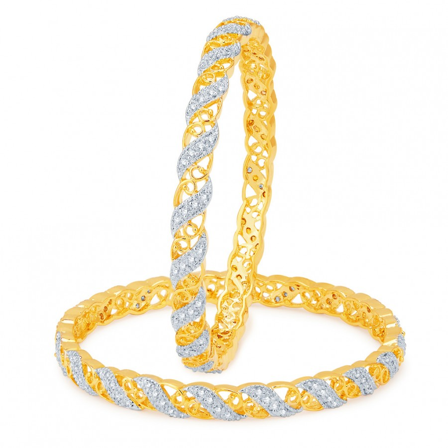 Buy Pissara Divine Gold and Rhodium Plated CZ Bangles Online