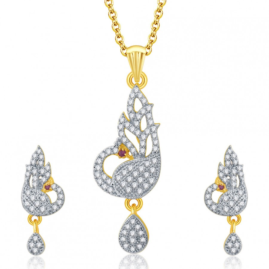 Buy Pissara Captivating Peacock Gold And Rhodium Plated Ruby CZ Pendant Set For Women Online