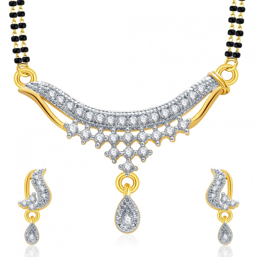 Buy Pissara Sparkly Gold And Rhodium Plated CZ Mangalasutra Set For Women Online