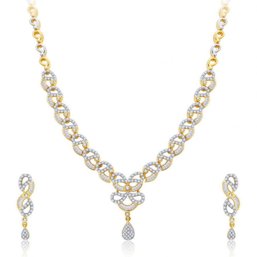 Buy Pissara Exhilarating Gold And Rhodium Plated CZ Neklace Set For Women Online