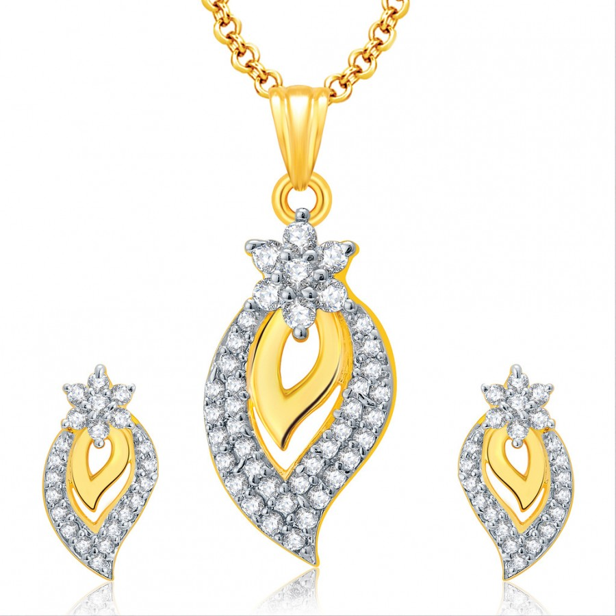 Buy Pissara Spontaneous Gold And Rhodium Plated CZ Pendant Set For Women Online
