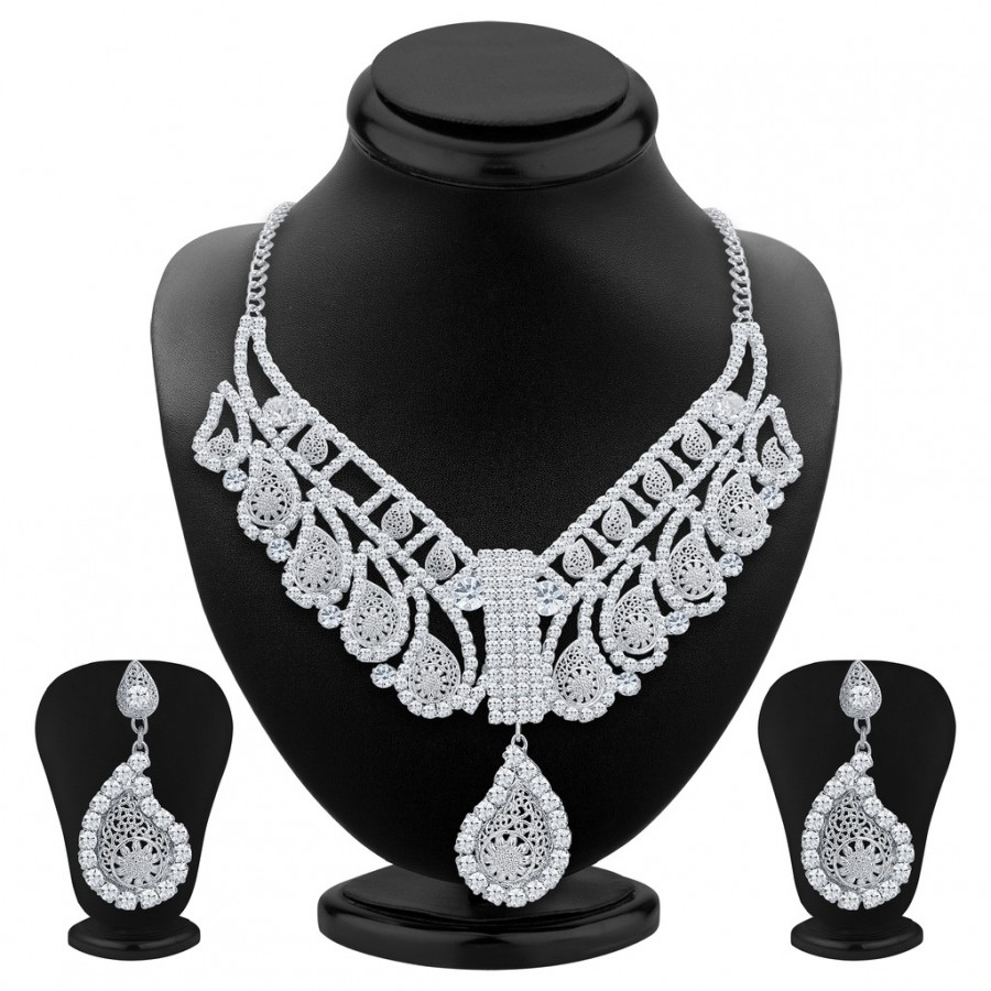 Buy Sukkhi Sublime Rhodium Plated AD Necklace Set For Women Online