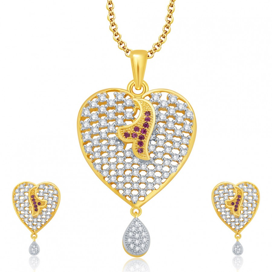 Buy Pissara Sparkling Gold And Rhodium Plated CZ Pendant Set For Women Online