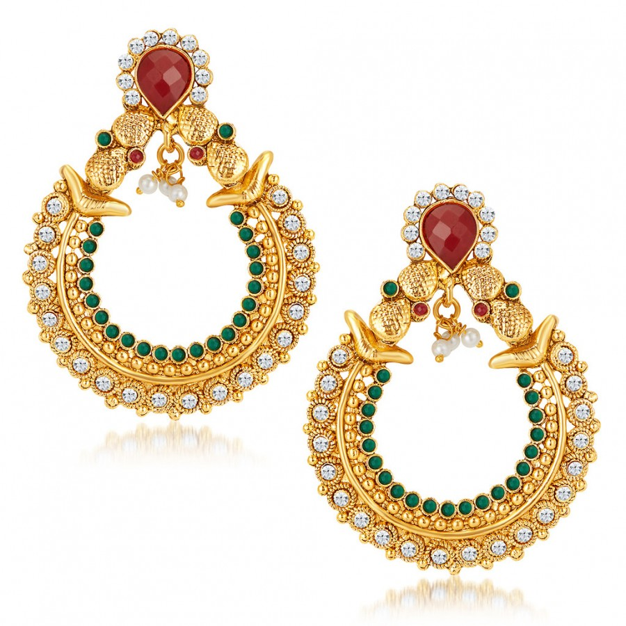 Buy Sukkhi Graceful Gold Plated Australian Diamond Earrings Online