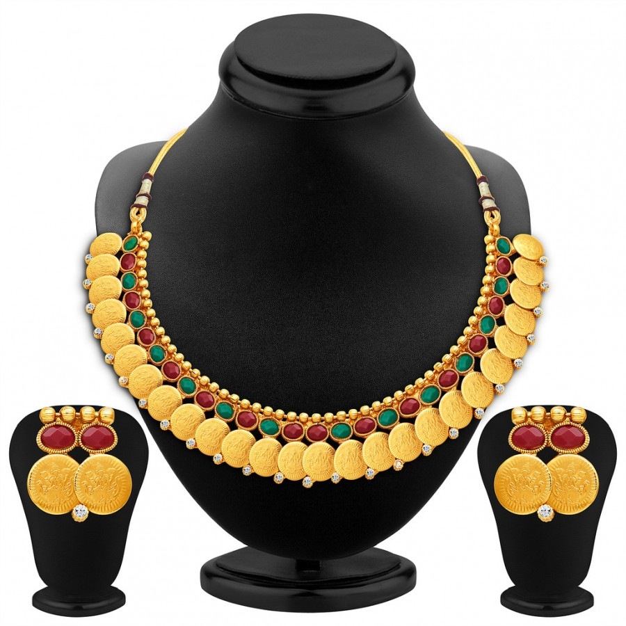 Buy Sukkhi Glorious Gold Plated Temple Jewellery Necklace Set Online