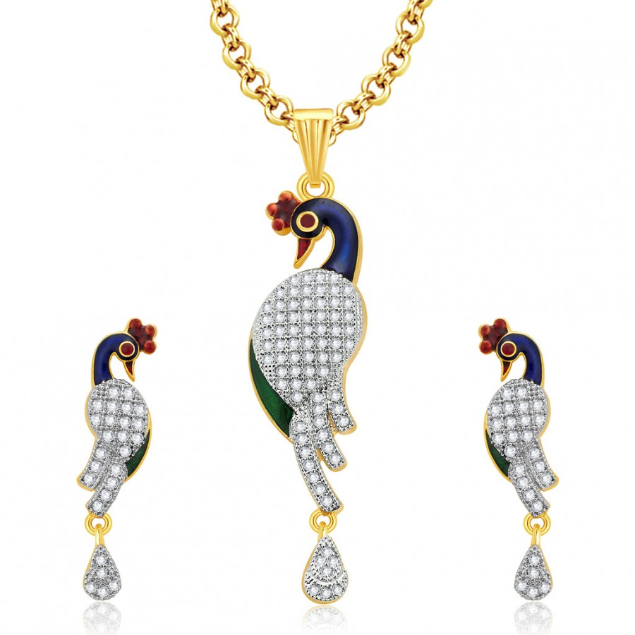 Buy Pissara Sparkling Peacock Gold And Rhodium Plated CZ Pendant Set For Women Online