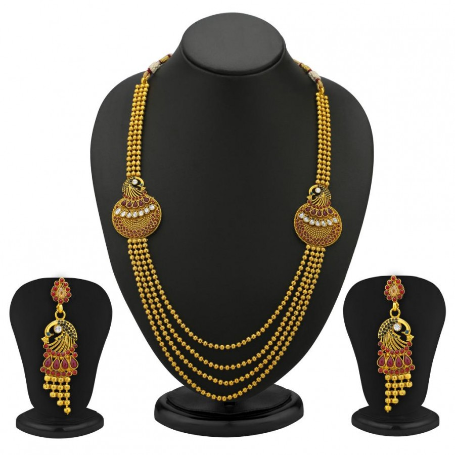 Buy Sukkhi Beguiling 5 Strings Gold Plated Peacock Antique Necklace Set Online