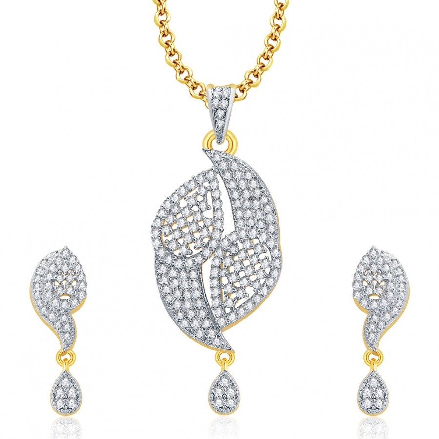 Buy Pissara Precious Gold And Rhodium Plated CZ Pendant Set For Women Online