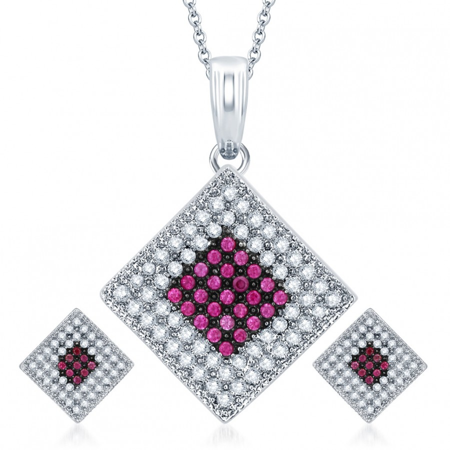 Buy Pissara Magnificent Rhodium Plated Ruby CZ Micro Pave Pendant Set Online