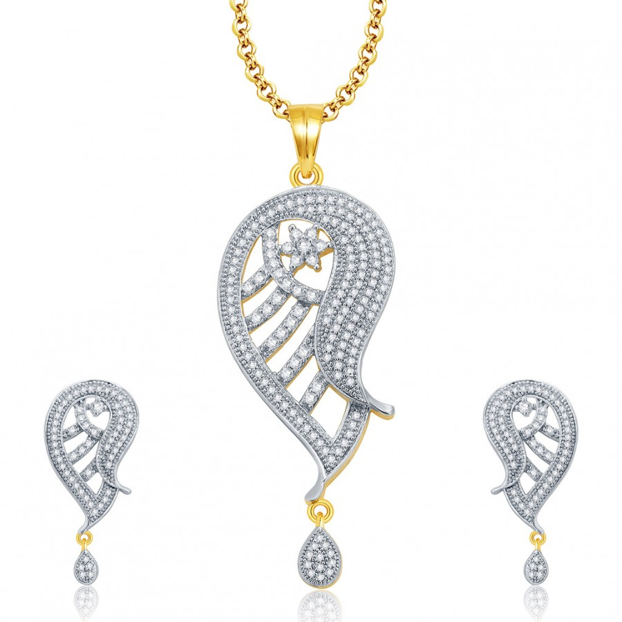 Buy Pissara Ritzy Gold And Rhodium Plated CZ Pendant Set For Women Online