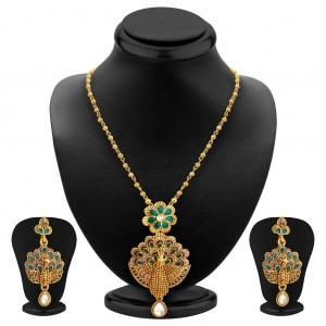 Buy Sukkhi Pleasing Pecock Gold Plated Pendant Set For Women Online