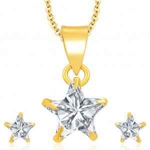 Buy Pissara Glimmery Gold Plated CZ Pendant Set For Women Online