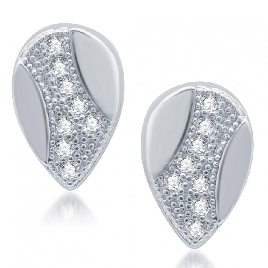 Buy Pissara Exotic Rhodium Plated Micro Pave CZ Earrings Online