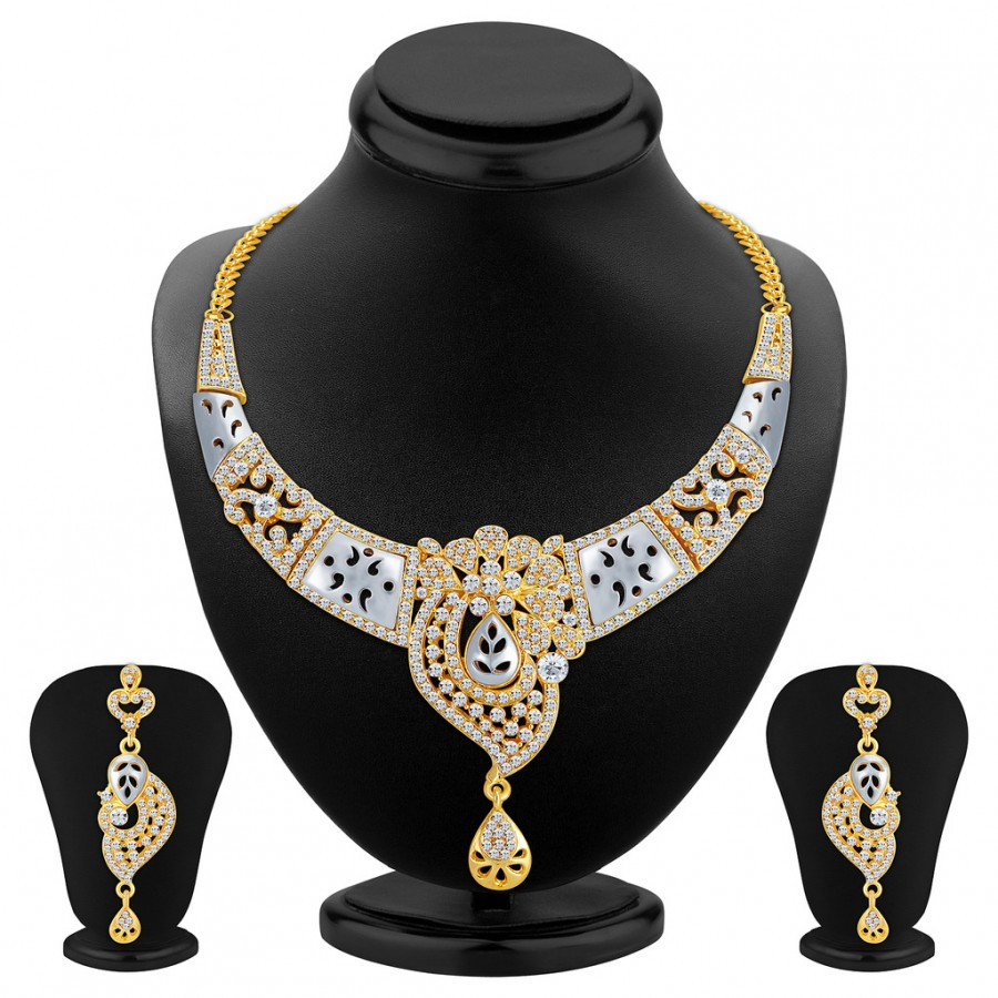 Buy Sukkhi Brilliant Gold and Rhodium Plated AD Necklace Set Online