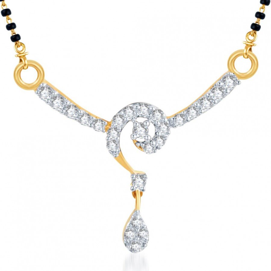Buy Pissara Fabulous CZ Gold and Rhodium Plated Mangalsutra Pendant Online