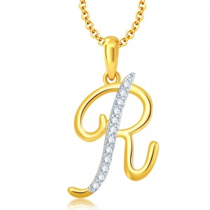 "Buy Pissara Letter"" R"" Gold and Rhodium Plated CZ Alphabet Pendant Online"