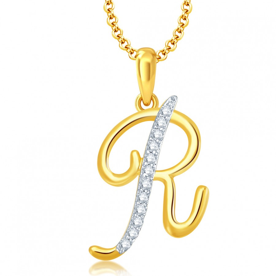 Buy pendants for women online pendants online shopping india buy pissara letter r gold and rhodium plated cz alphabet pendant online mozeypictures Choice Image