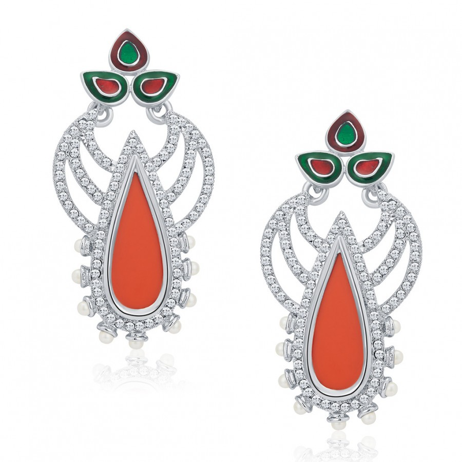 Buy Sukkhi Shimmering Rhodium Plated AD Earrings For Women Online