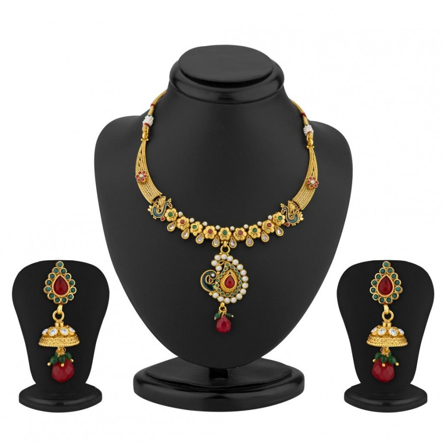 Buy Sukkhi Eye-Catchy Gold Plated Meenakari Peacock Antique Necklace Set Online