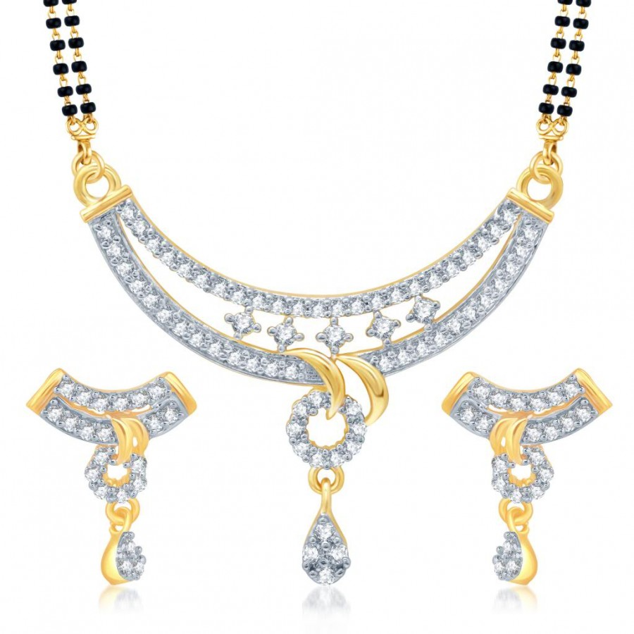 Buy Pissara Blossomy Gold and Rhodium Plated Cubic Zirconia Stone Studded Mangalsutra Set Online