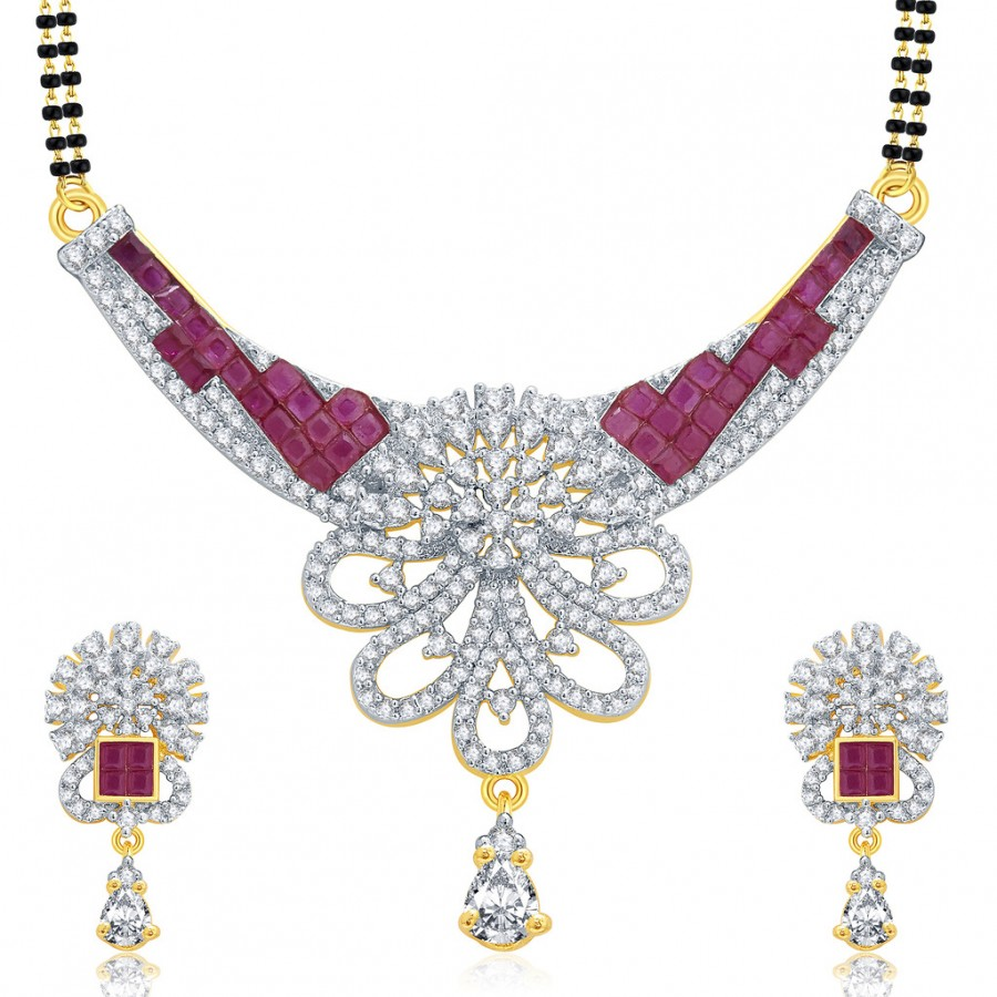 Buy Pissara Notalgic Gold And Rhodium Plated Ruby CZ Mangalasutra Set For Women Online
