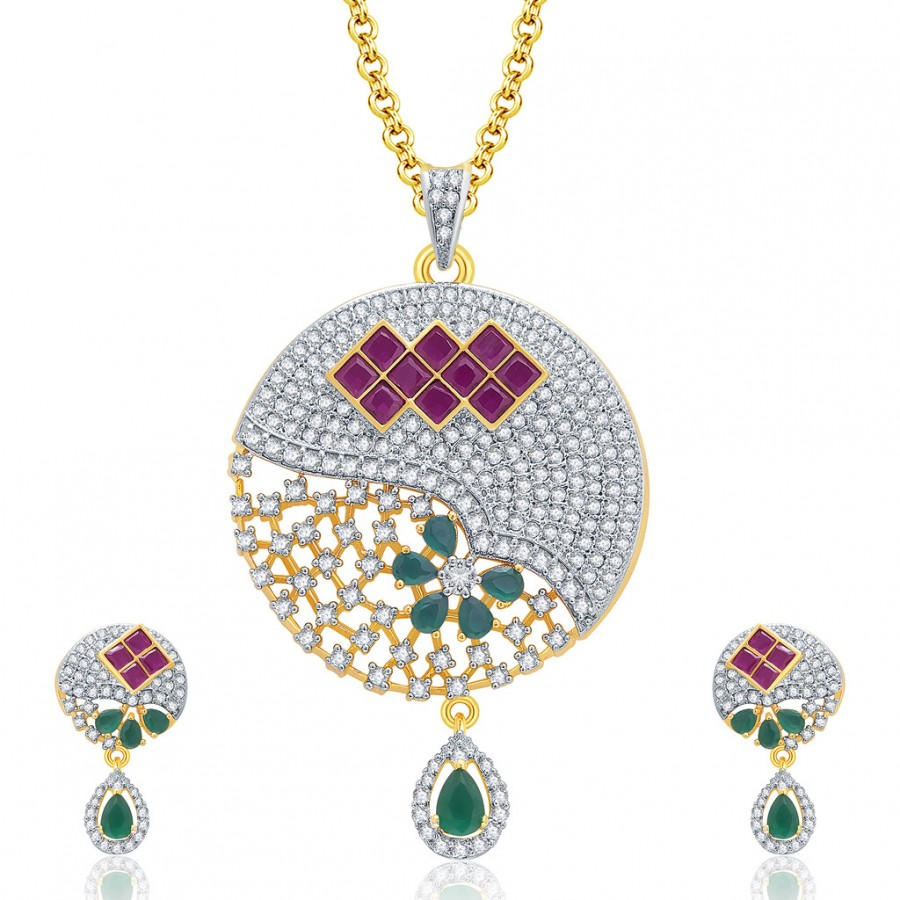 Buy Pissara Engross Gold And Rhodium Plated Ruby CZ Pendant Set For Women Online
