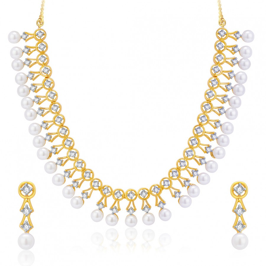 Buy Pissara Bewitch Gold And Rhodium Plated CZ Neklace Set For Women Online