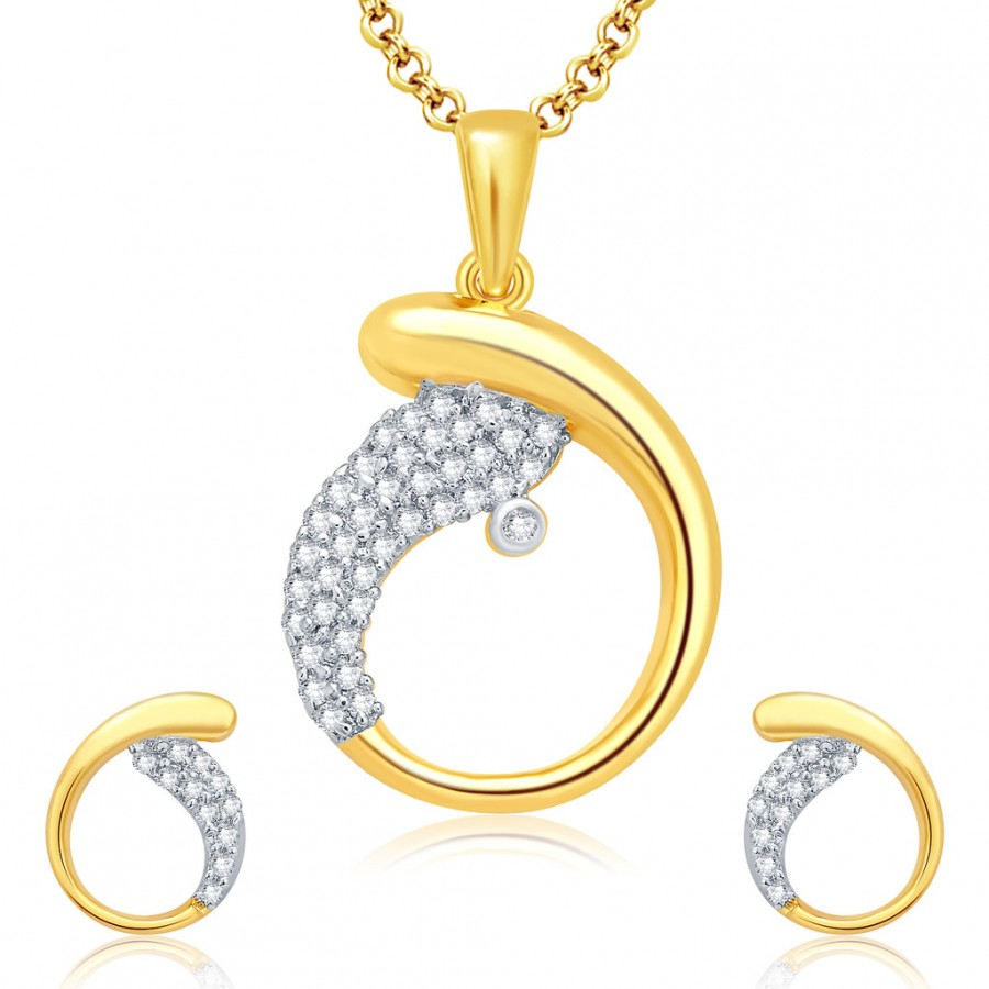 Buy Pissara Pleasing Gold And Rhodium Plated CZ Pendant Set For Women Online