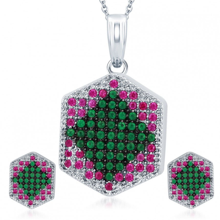 Buy Pissara Fashionable Rhodium Plated Emerald Ruby CZ Micro Pave Pendant Set Online
