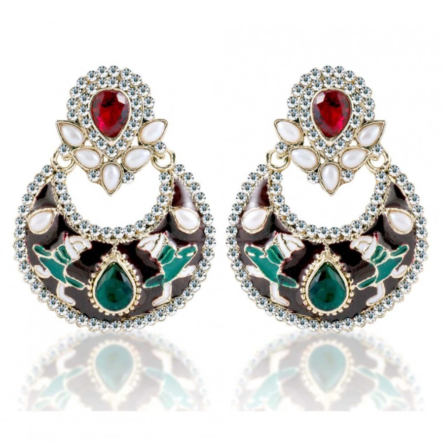 Buy Sukkhi Delightful Gold Plated AD Chandbali Earring For Women Online