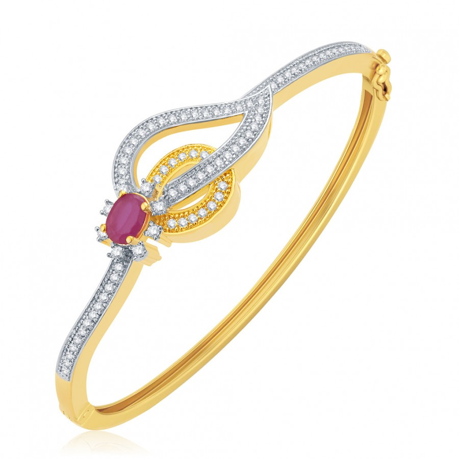 Buy Pissara Opulent Gold And Rhodium Plated Ruby CZ Kada For Women Online