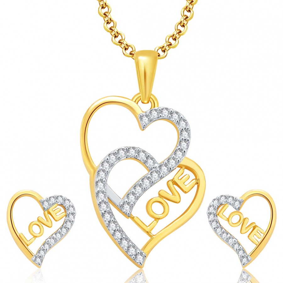 Buy Pissara Love Gold And Rhodium Plated CZ Pendant Set For Women Online