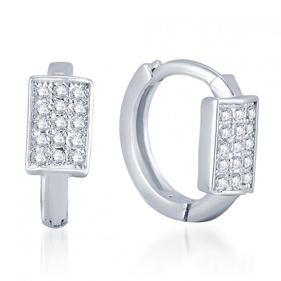 Buy Pissara Stylish Rhodium Plated Micro Pave Setting CZ Earrings Online