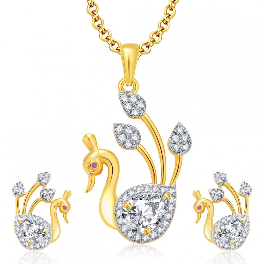 Buy Pissara Peacock Gold And Rhodium Plated Ruby CZ Pendant Set For Women Online