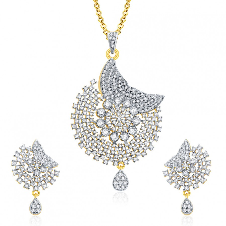 Buy Pissara Seductive Gold And Rhodium Plated CZ Pendant Set For Women Online