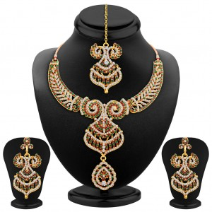 Buy Sukkhi Exquitely Gold Plated AD Necklace Set Online