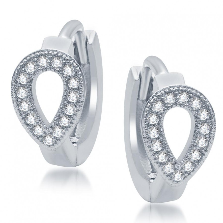 Buy Pissara Graceful Rhodium Plated Micro Pave CZ Earrings Online
