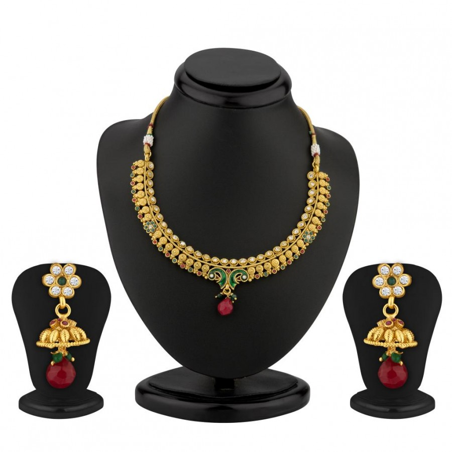 Buy Sukkhi Peacock Gold Plated Meenakari Antique Necklace Set Online