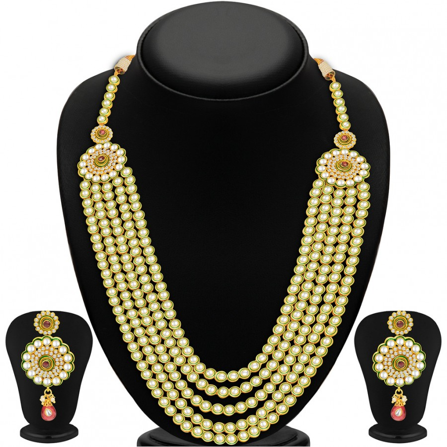 Buy Sukkhi Ethnic Five Strings Gold Plated Kundan Necklace Set Online