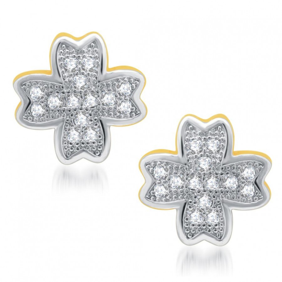 Buy Pissara Marvelous Gold and Rhodium Plated Micro Pave CZ Earrings Online